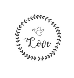 love bird grass circle frame background ima vector image