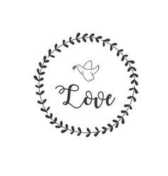 love bird grass circle frame background ima vector image
