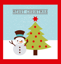 merry christmas card snowman and tree pine vector image