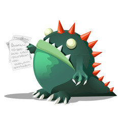Monster holding papers vector