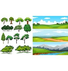Nature scenes with fields and mountians vector