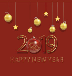 New year 2019 beautiful greeting card with vector