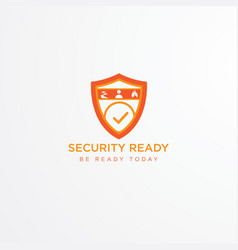 orange shield logo design vector image