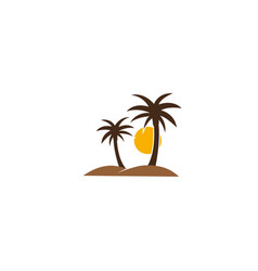 palms desert with sun and sand logo design vector image