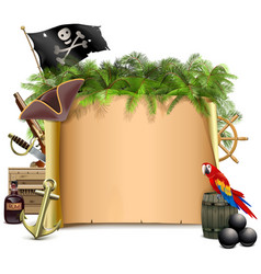 pirate scroll with palm tree vector image