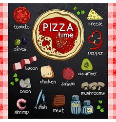 Pizza and ingredients for cooking vector