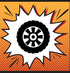 road tire sign comics style icon on pop vector image