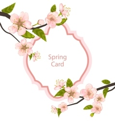 Romantic Spring Card with Blossoming Tree Branches vector