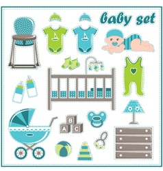 Scrapbook elements with baby boy things vector image