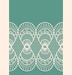 seamless decorative lace border on blue background vector image