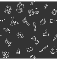 Seamless pattern Science icons doodles set vector