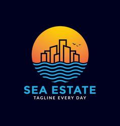 Seashore estate logo design vector