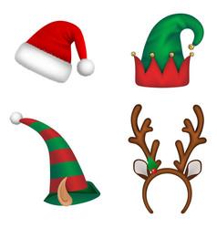 set isolated christmas hats vector image
