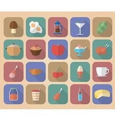 Set of food and drinks icons Modern flat style vector image