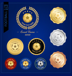 set of football badge label or emblem for sport vector image