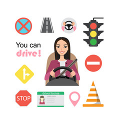 set of road symbols and asian woman driver vector image