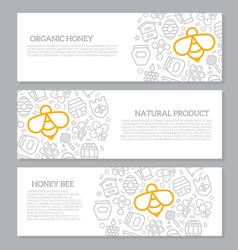 set of three digital honey and bee horizontal vector image vector image