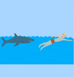 shark dangers in the sea for man vector image