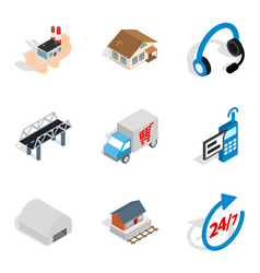 Shipping home icons set isometric style vector