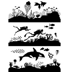 silhouette sea coral reef oceanic diving set vector image