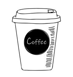simple coffee to go sketch vector image