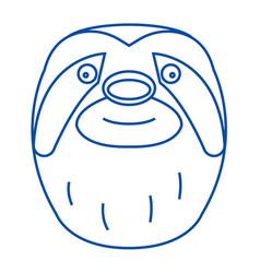 sloth head line icon concept sloth head flat vector image