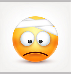 Smileysad ill emoticon yellow face with emotions vector