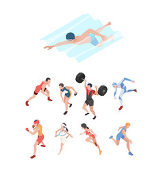 sport players isometric characters peoples vector image