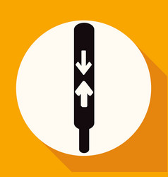 Thermometer icon on white circle with a long vector