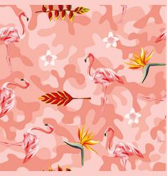 tropical flowers flamingo pink camo seamless vector image