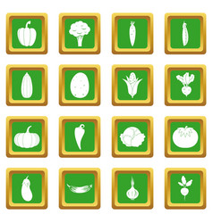 vegetables icons set green vector image