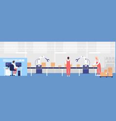 Warehouse loading conveyor vector