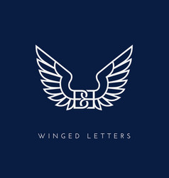 winged letters vector image
