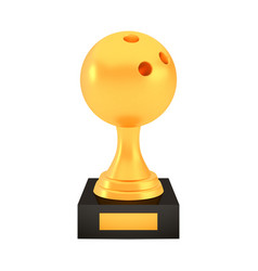 Winner bowling cup award on stand with empty plate vector