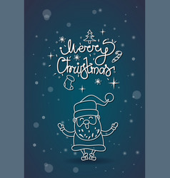 Winter holidays greeting card merry christmas sign vector