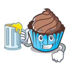 with juice chocolate cupcake mascot cartoon vector image