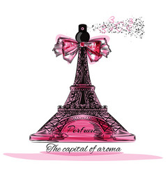 with perfume bottle in shape of eifel tower vector image
