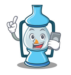With phone lantern character cartoon style vector