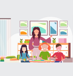 woman teacher teaching boys and girls preschool vector image