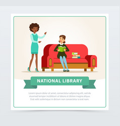 young woman sitting on sofa and reading book in vector image