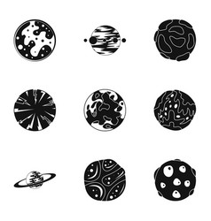 fantasy planet icons set simple style vector image