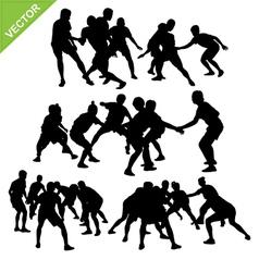 Kabaddi player silhouettes vector image