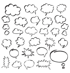 Marker Speech Bubbles and Thought Clouds vector image vector image