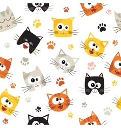 seamless pattern with cute cartoon cats vector image