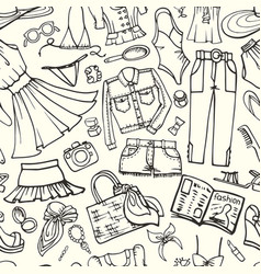 summer fashion seamless patternwoman outline wear vector image
