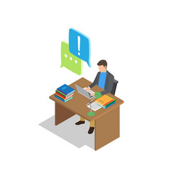 character communicates by laptop at work place vector image vector image