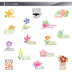 Flowers - logo template set vector