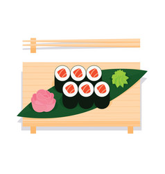 maki sushi with salmon served on wooden board vector image vector image