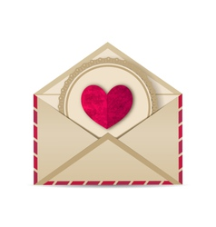 paper grunge heart in open old envelope - vector image