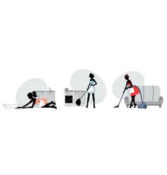 women cleaning floors vector image